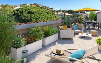 New apartments in Le Lavandou, popular Mediterranean seaside town.