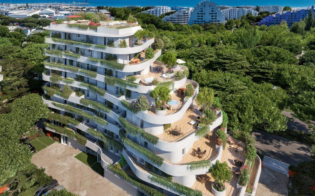 A Mediterranean dream in an oasis of greenery close to the beach, La Grande Motte.